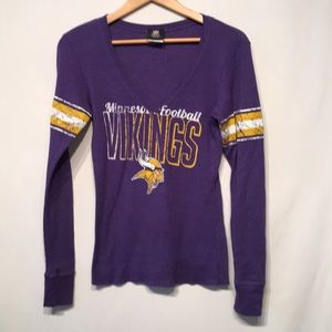 Minnesota Vikings Football V-Neck Waffle Knit Top